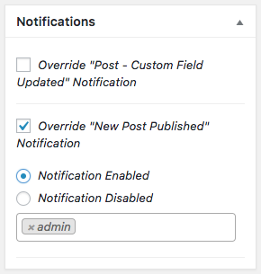 The new Notification Override meta box